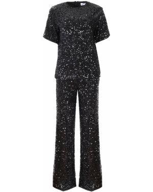 Шелковый черный костюм с пайетками на торжество Victoria Beckham