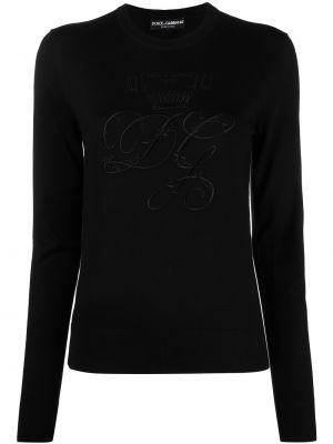 Шерстяной черный джемпер с длинными рукавами Dolce & Gabbana