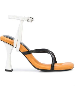 Skórzany czarny sandały z klamrą na pięcie Proenza Schouler