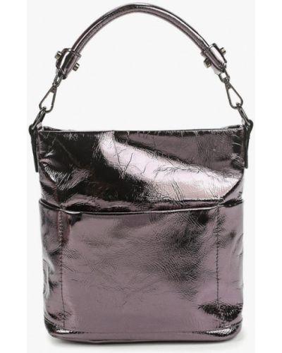 Серебряная лаковая кожаная сумка через плечо Valensiy