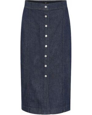 Синяя юбка миди в рубчик 7 For All Mankind