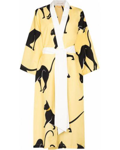Шелковый халат - желтый Olivia Von Halle