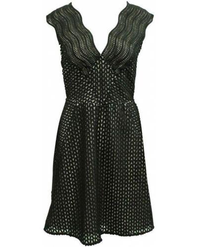 Czarna sukienka z haftem Reiss