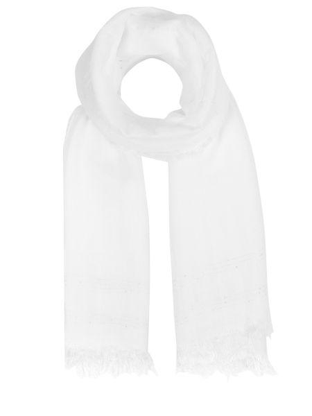 Классический белый шарф с бахромой из вискозы Le Tricot Perugia