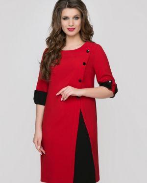 Красное платье миди со вставками с карманами свободного кроя Belluche