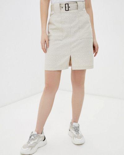Бежевая прямая юбка карандаш Raya