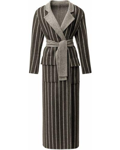 Прямое серое шерстяное длинное пальто Izeta