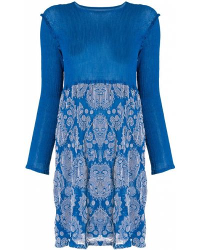 Платье макси с длинными рукавами синее Issey Miyake Cauliflower