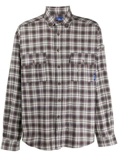 Серая рубашка с воротником на пуговицах с длинными рукавами Rassvet