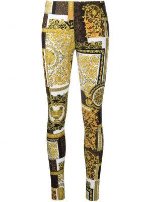 Золотистые желтые леггинсы стрейч Versace