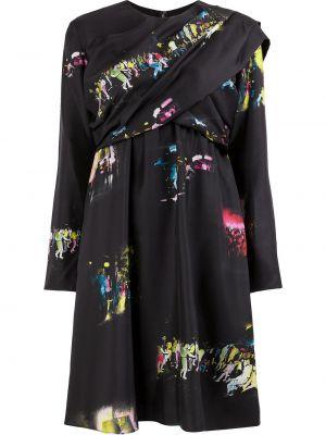 Шелковое с рукавами черное платье мини Sies Marjan