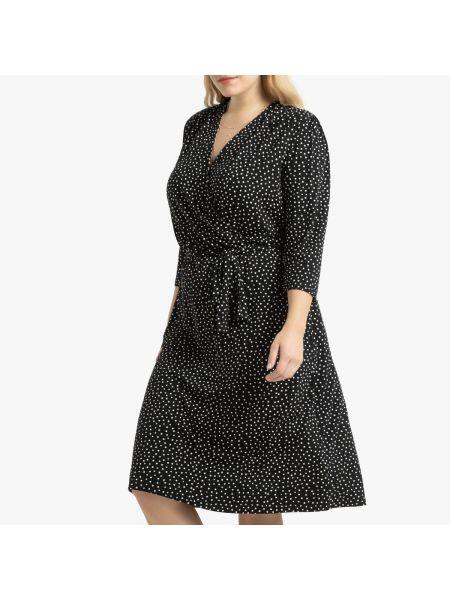 Платье миди в горошек с V-образным вырезом La Redoute