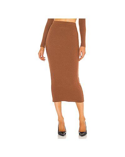 Коричневая юбка на резинке из вискозы Enza Costa