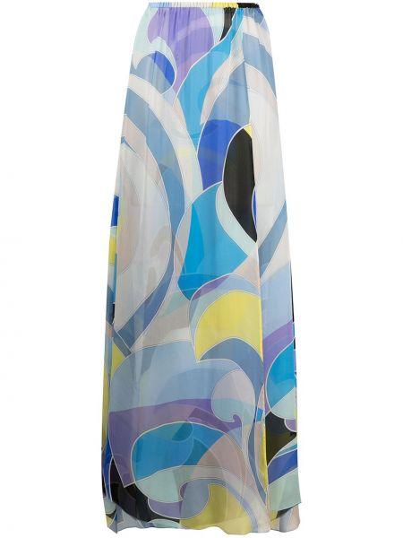 Niebieska spódnica z jedwabiu z printem Emilio Pucci