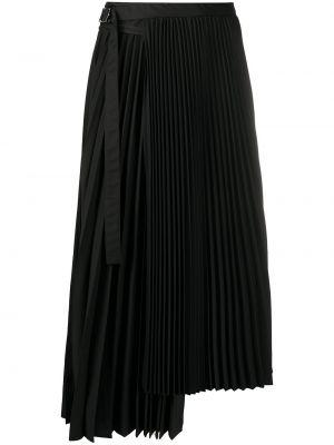 Черная с завышенной талией юбка миди с запахом в рубчик Sacai