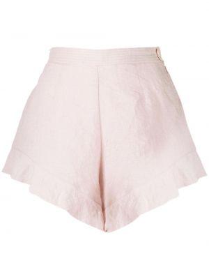 Розовые с завышенной талией шорты с поясом Forte Forte