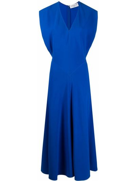 Синее расклешенное платье миди с V-образным вырезом из вискозы Victoria Beckham