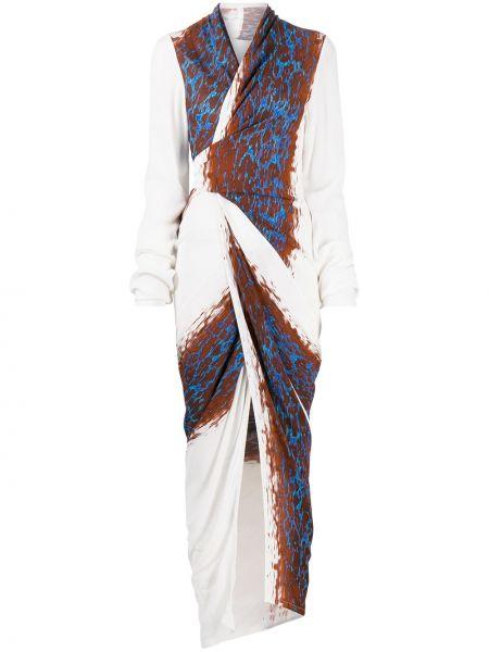 Brązowy długo sukienka z wiskozy z dekoltem w szpic z długimi rękawami Rick Owens