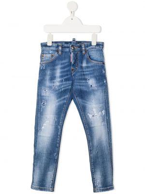 Кожаные джинсы с нашивками на пуговицах Dsquared2 Kids