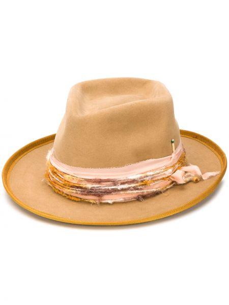 Коричневая фетровая шляпа с отворотом Nick Fouquet