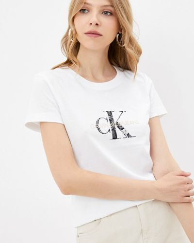 Белая футболка осенняя Calvin Klein Jeans