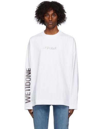 Белая футболка с длинными рукавами с воротником We11done