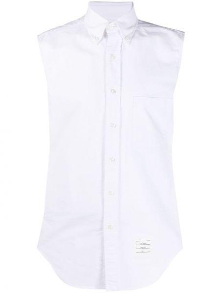 Хлопковая белая классическая рубашка в полоску Thom Browne