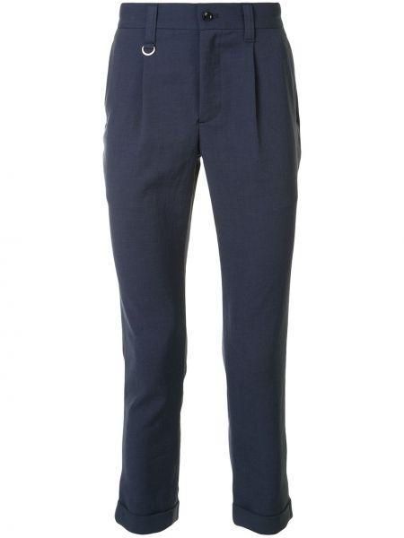 Синие укороченные брюки с поясом пэчворк на пуговицах Sophnet.