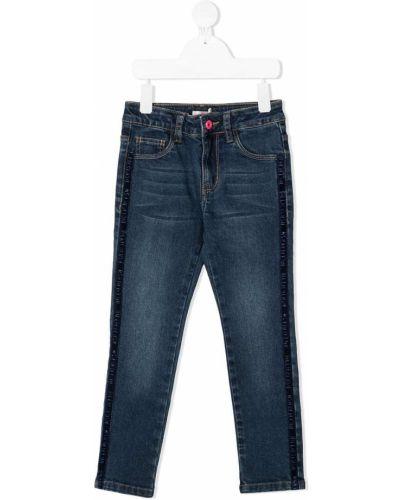 Хлопковые синие джинсы стрейч с заплатками Billieblush