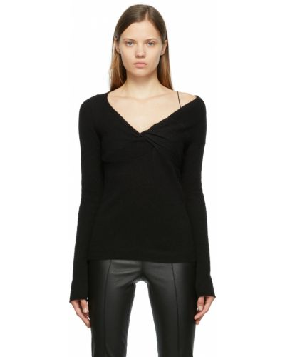 Sweter wełniany - czarny Helmut Lang