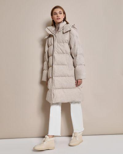 Серое шерстяное пальто с капюшоном 12storeez