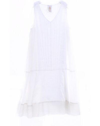 Biała sukienka bez rękawów materiałowa Dondup