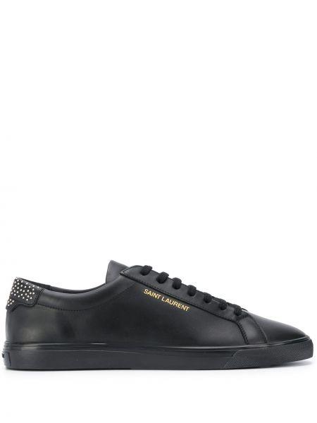 Klasyczny ażurowy skórzany czarny sneakersy Saint Laurent