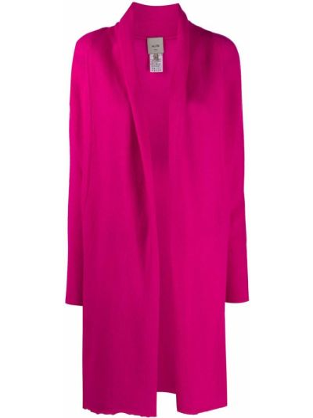 Bezpłatne cięcie kaszmir różowy trykotowy kardigan z długimi rękawami Alysi