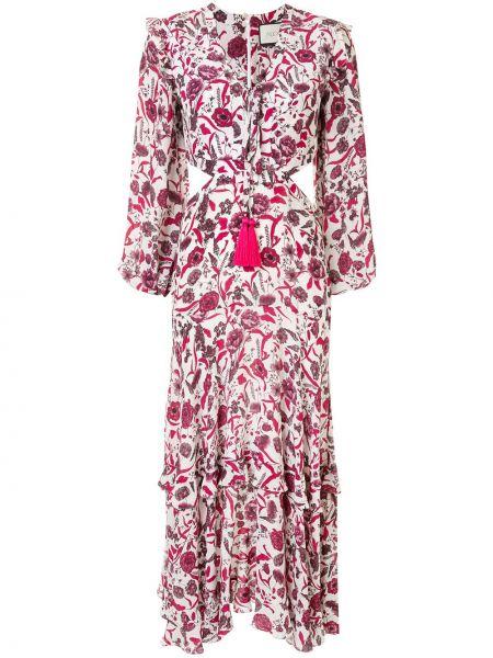 Платье миди с цветочным принтом с V-образным вырезом Alexis