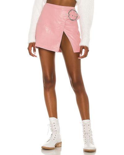 Кожаная юбка мини - розовая For Love & Lemons