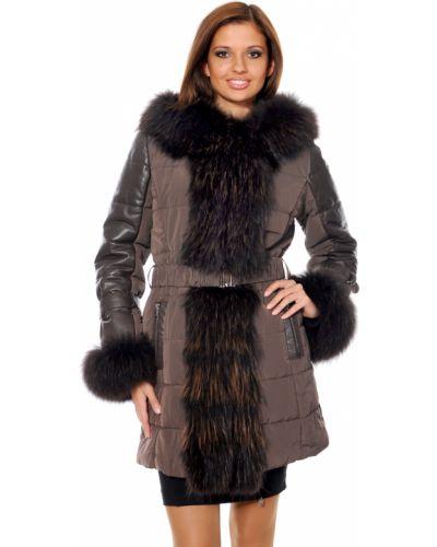 Коричневое пальто с капюшоном из енота Mor`a