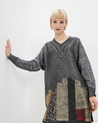 Серебряное трикотажное вязаное платье Tantra