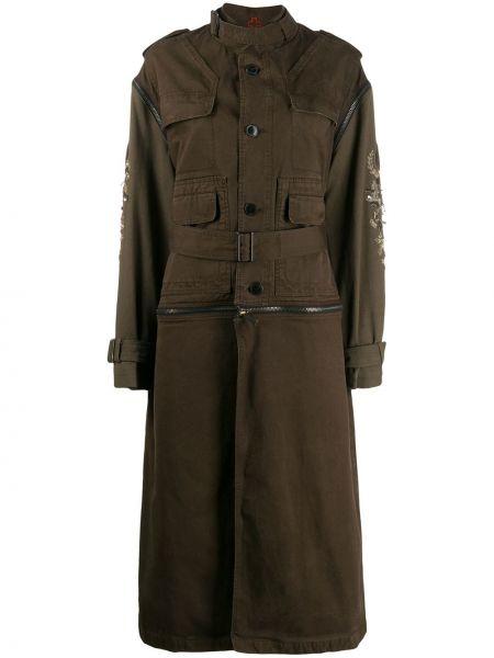Зеленое пальто с поясом на пуговицах с вырезом A.f.vandevorst
