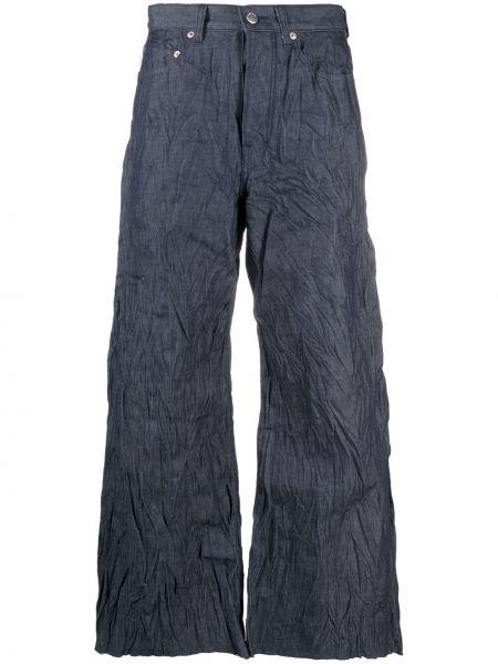 Niebieskie jeansy skorzane Ambush