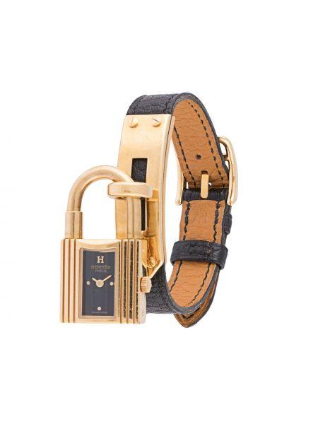 Z paskiem czarny zegarek na skórzanym pasku z prawdziwej skóry z klamrą Hermes
