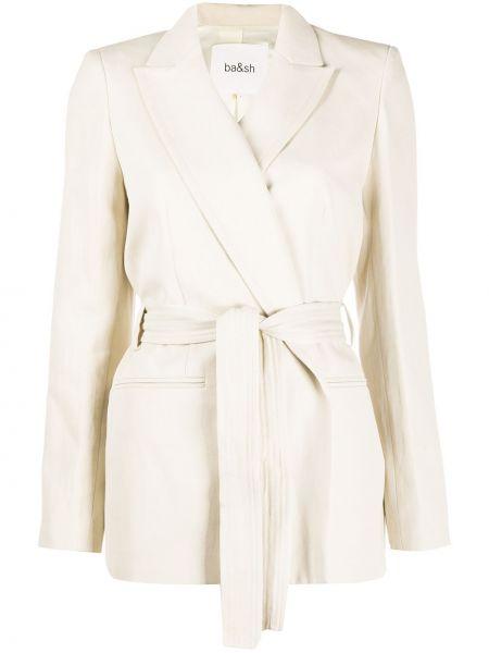 Бежевый удлиненный пиджак с поясом на пуговицах Ba&sh