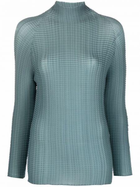 T-shirt z długimi rękawami - niebieska Issey Miyake