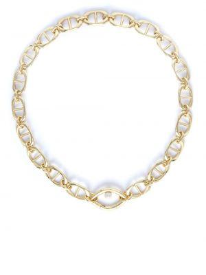 Желтое ожерелье металлическое с жемчугом Capsule Eleven
