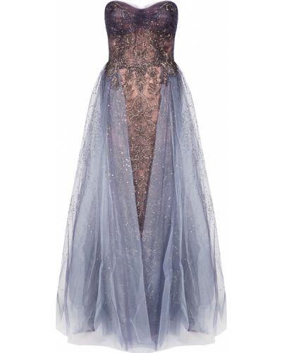 Вечернее платье золотистое - серое Marchesa