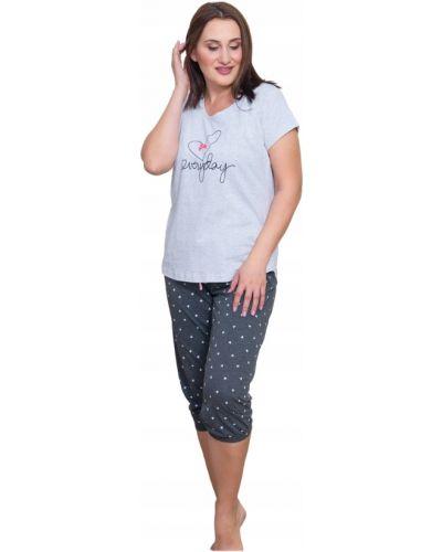 Szara piżama bawełniana krótki rękaw Vienetta