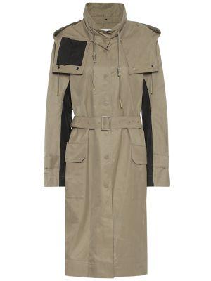 Зеленое пальто классическое с капюшоном для полных Low Classic