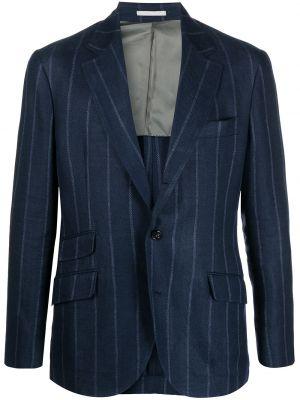 Однобортный синий классический пиджак с карманами Brunello Cucinelli