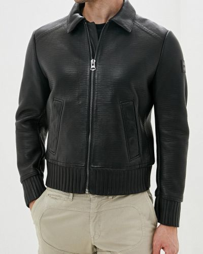 Кожаная куртка черная осенняя Boss