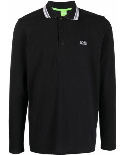 Czarna koszula bawełniana z haftem Boss Hugo Boss